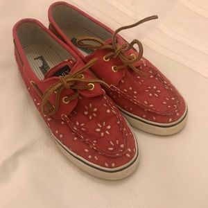 pink flowered sperry's size 7